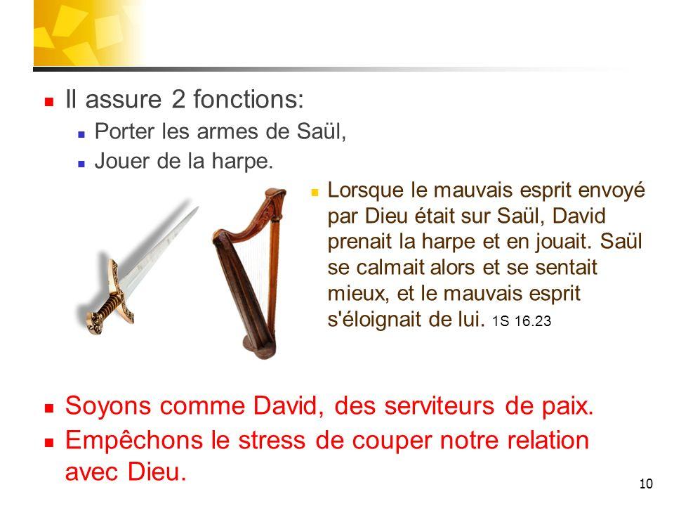 Soyons comme David, des serviteurs de paix.