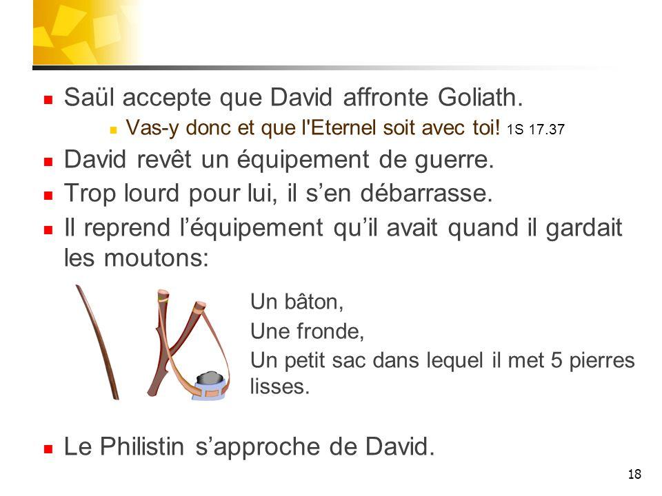 Saül accepte que David affronte Goliath.