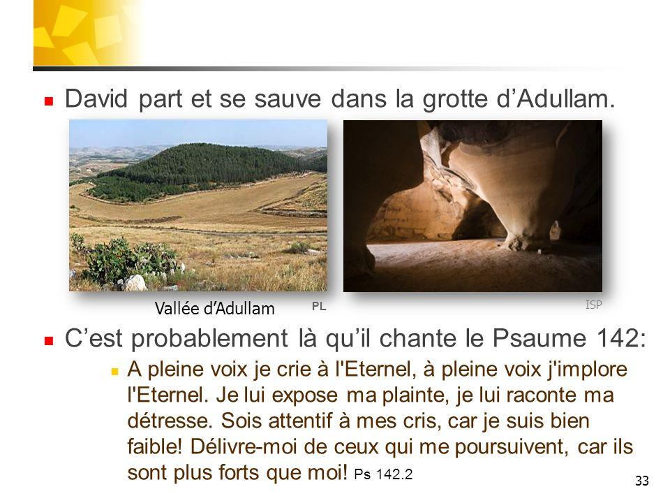 David part et se sauve dans la grotte d'Adullam.