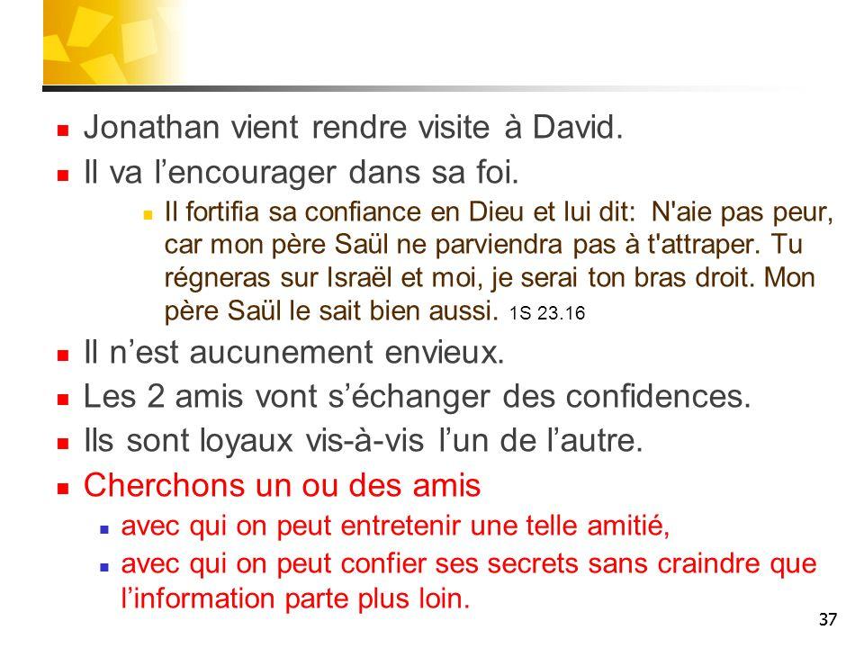 Jonathan vient rendre visite à David. Il va l'encourager dans sa foi.