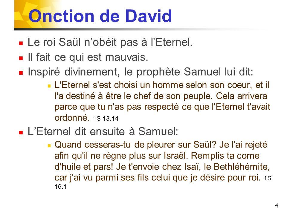 Onction de David Le roi Saül n'obéit pas à l'Eternel.