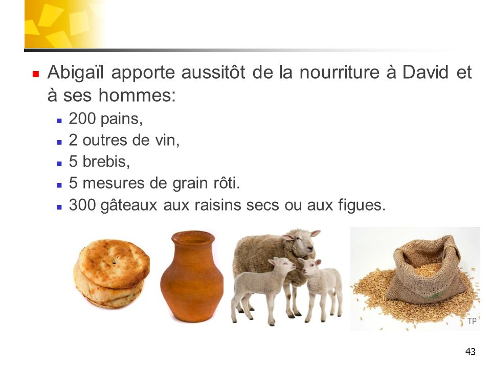 Abigaïl apporte aussitôt de la nourriture à David et à ses hommes: