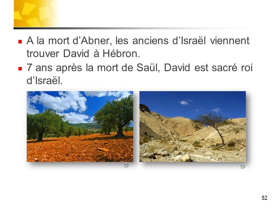 7 ans après la mort de Saül, David est sacré roi d'Israël.