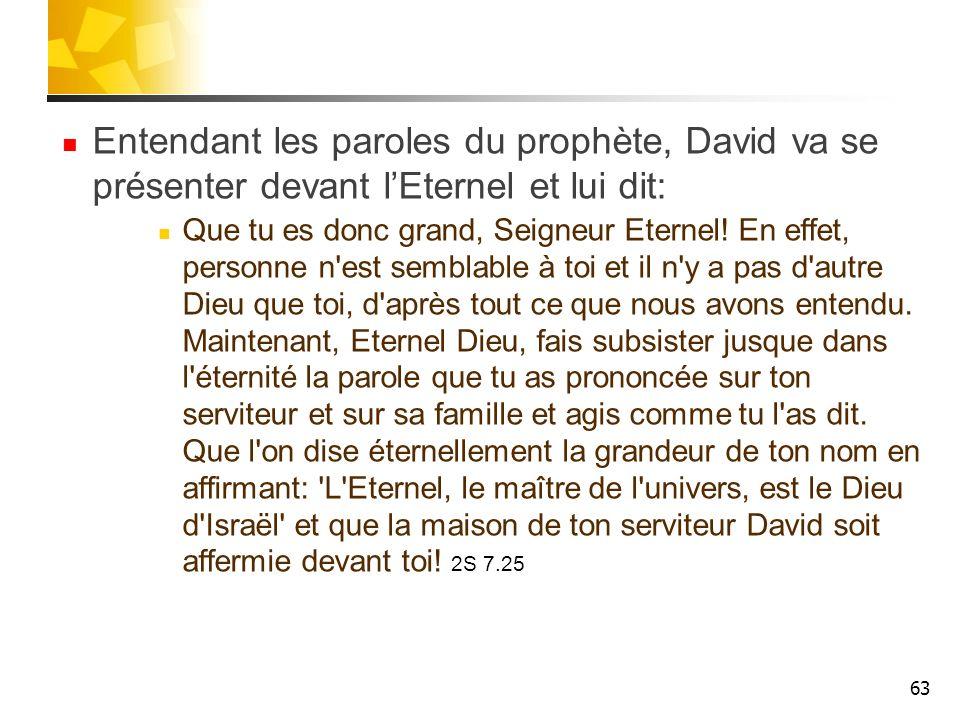 Entendant les paroles du prophète, David va se présenter devant l'Eternel et lui dit: