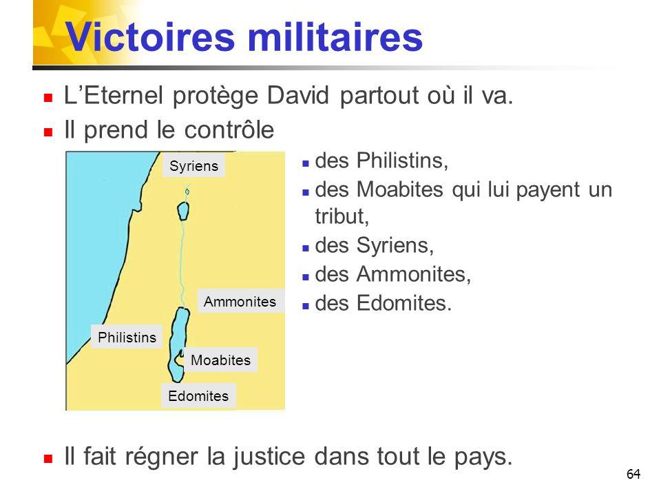 Victoires militaires L'Eternel protège David partout où il va.
