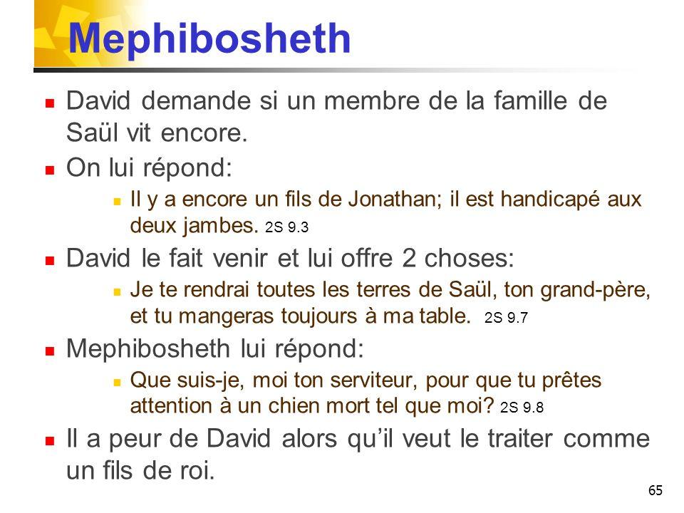 Mephibosheth David demande si un membre de la famille de Saül vit encore. On lui répond: