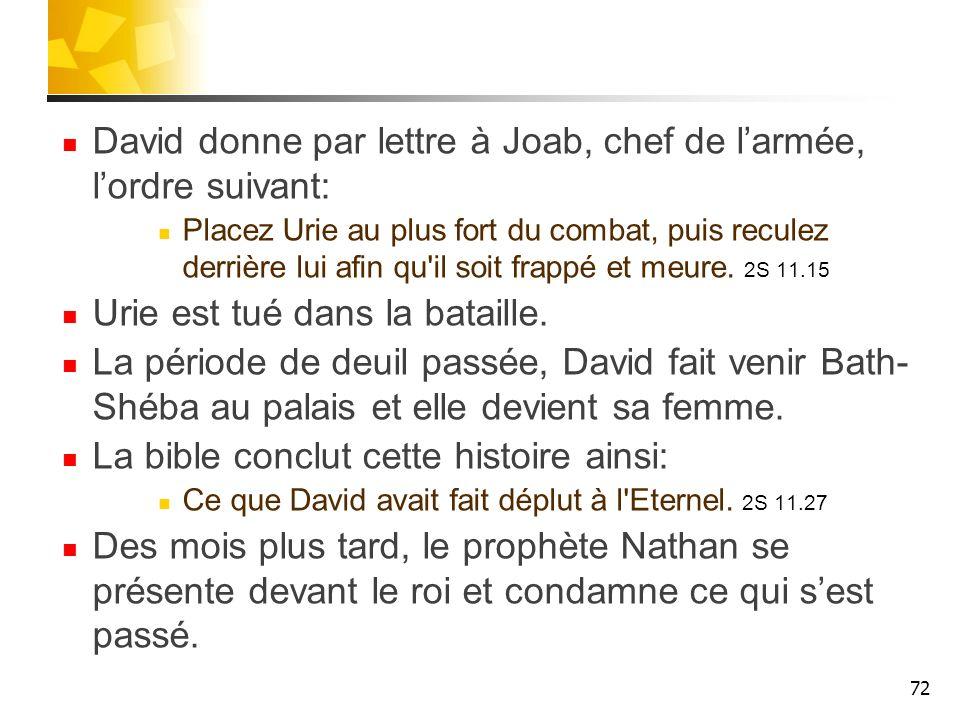 David donne par lettre à Joab, chef de l'armée, l'ordre suivant:
