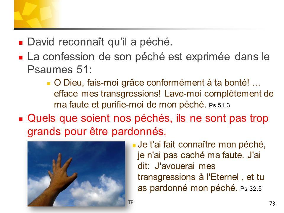 David reconnaît qu'il a péché.