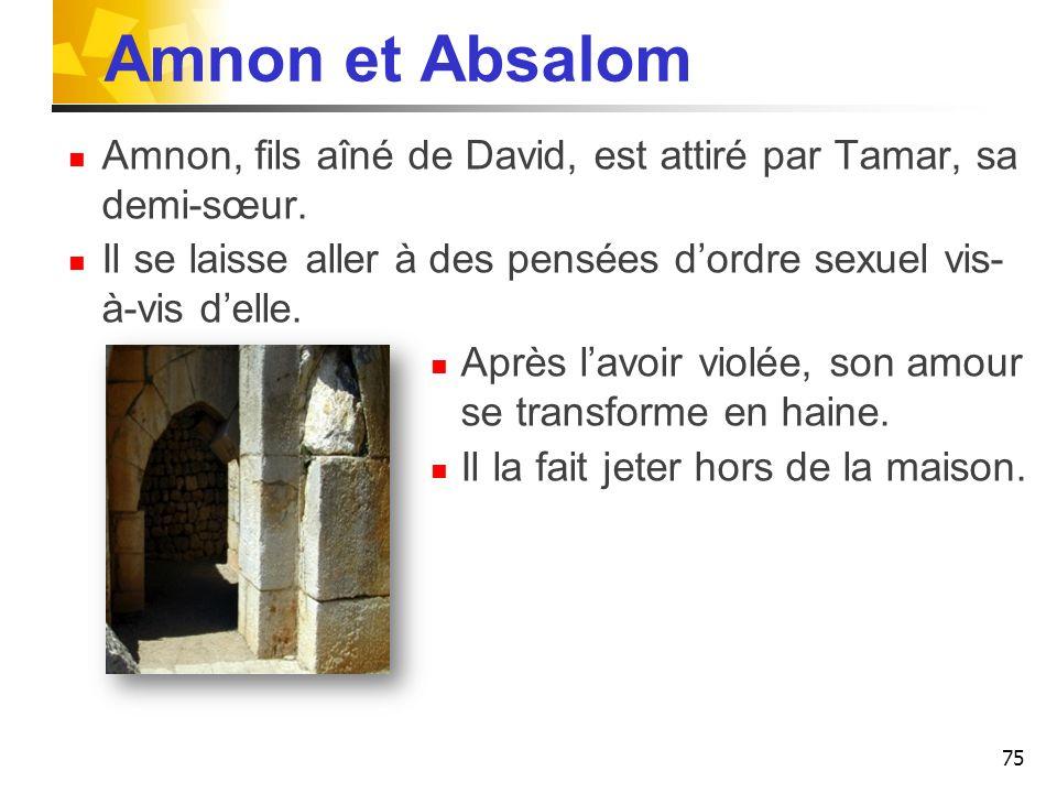 Amnon et Absalom Amnon, fils aîné de David, est attiré par Tamar, sa demi-sœur. Il se laisse aller à des pensées d'ordre sexuel vis-à-vis d'elle.