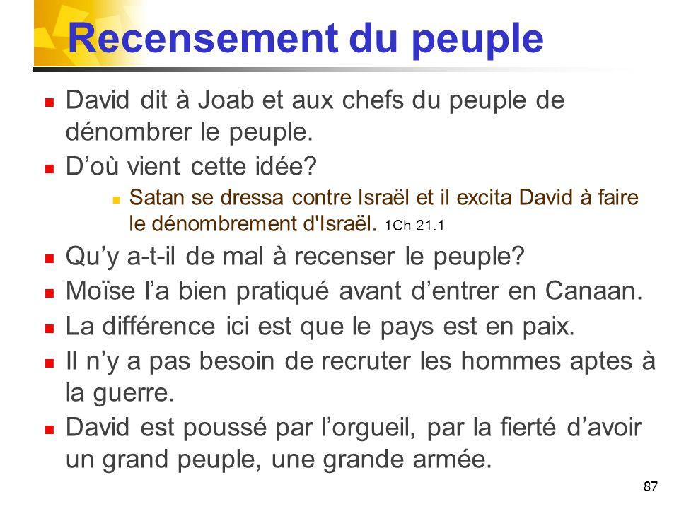 Recensement du peuple David dit à Joab et aux chefs du peuple de dénombrer le peuple. D'où vient cette idée