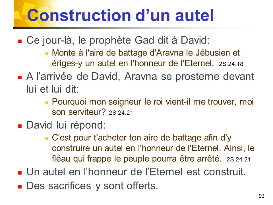 Construction d'un autel