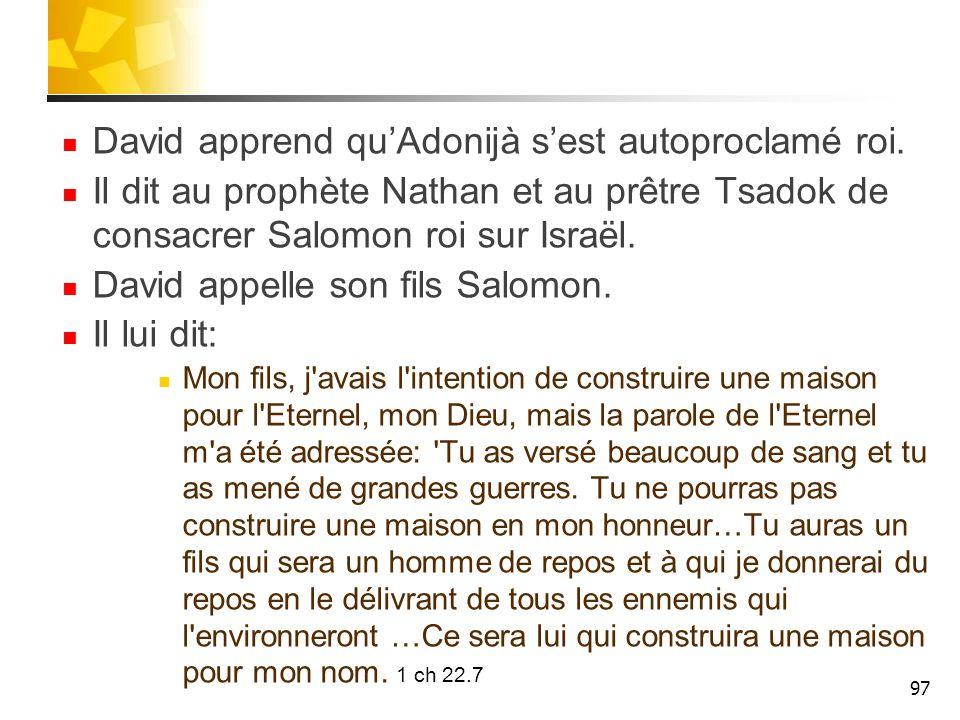 David apprend qu'Adonijà s'est autoproclamé roi.