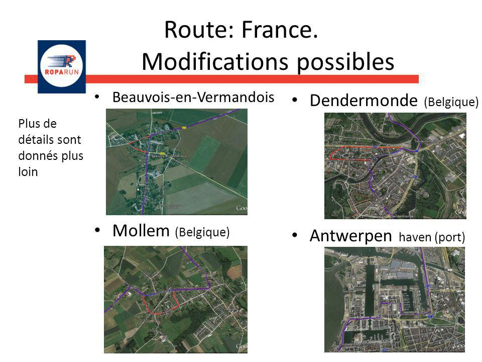 Route: France. Modifications possibles