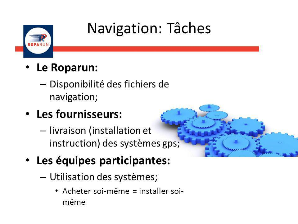 Navigation: Tâches Le Roparun: Les fournisseurs: