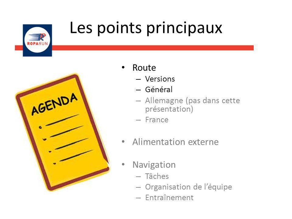 Les points principaux Route Alimentation externe Navigation Versions