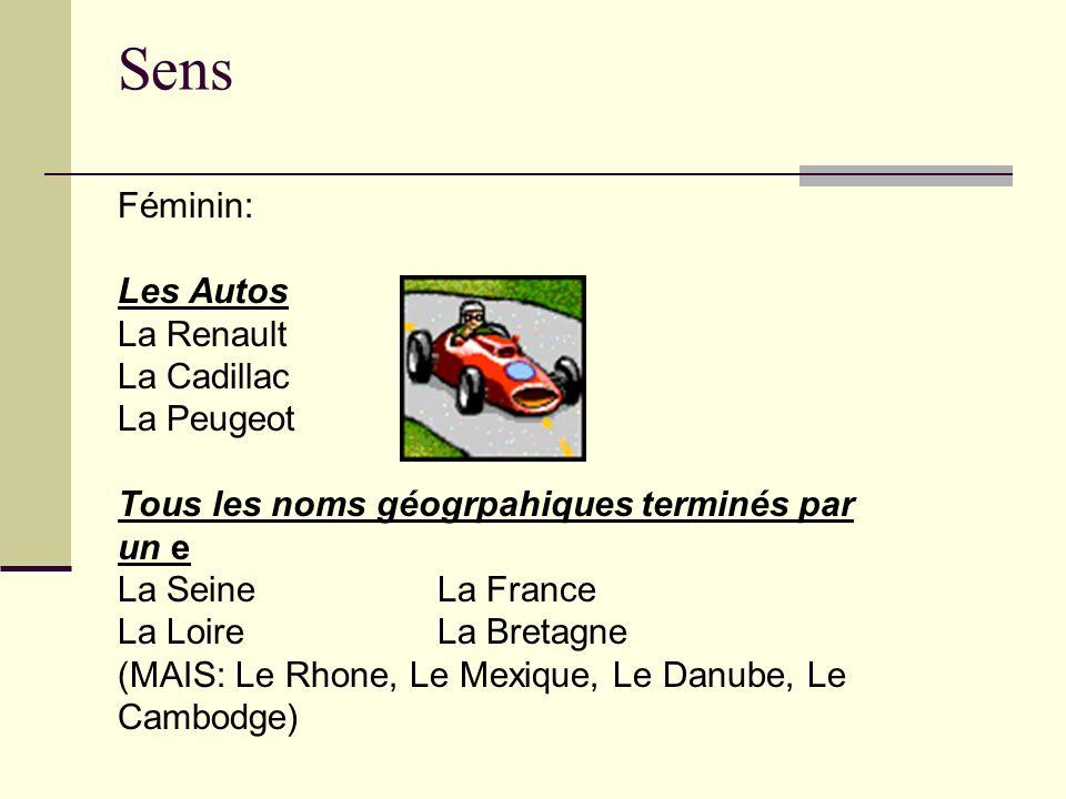 Sens Féminin: Les Autos La Renault La Cadillac La Peugeot