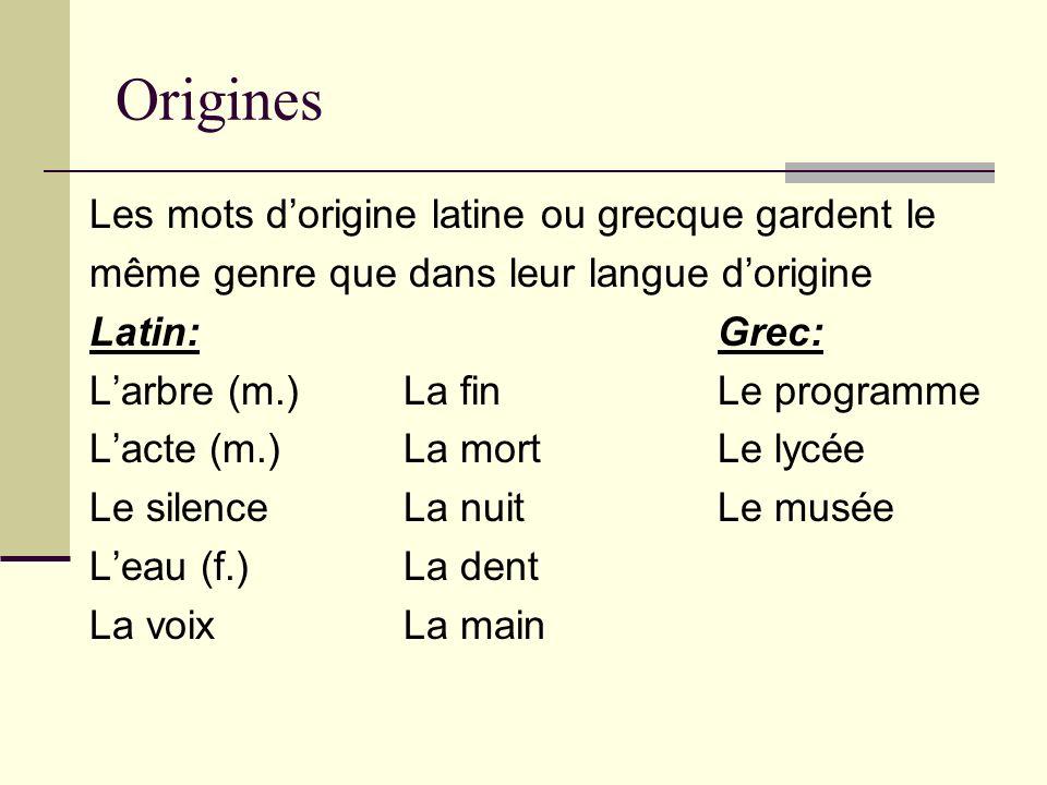 Origines Les mots d'origine latine ou grecque gardent le