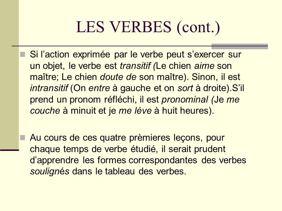 LES VERBES (cont.)