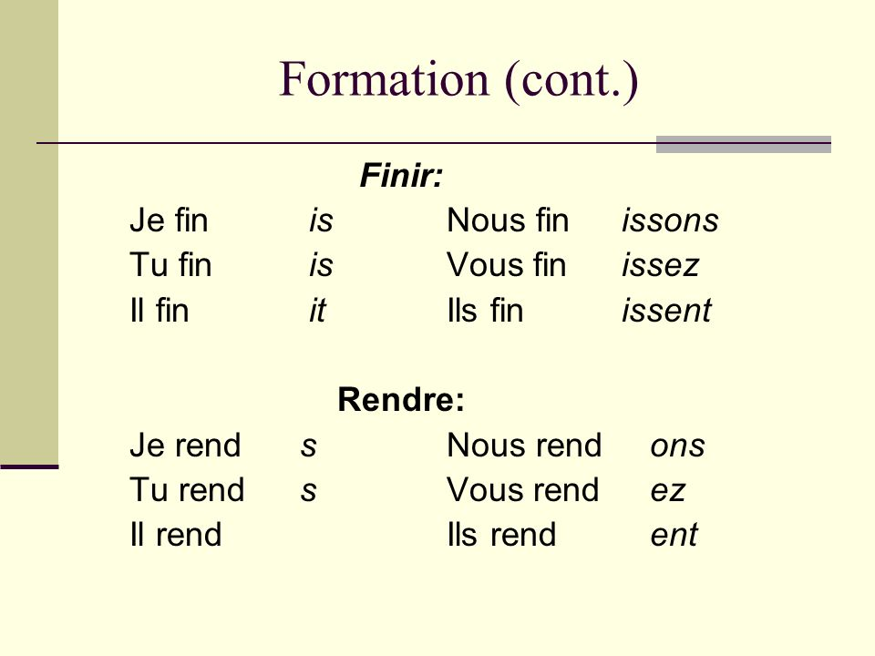 Formation (cont.) Finir: Je fin is Nous fin issons