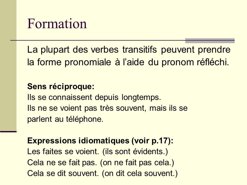 Formation La plupart des verbes transitifs peuvent prendre