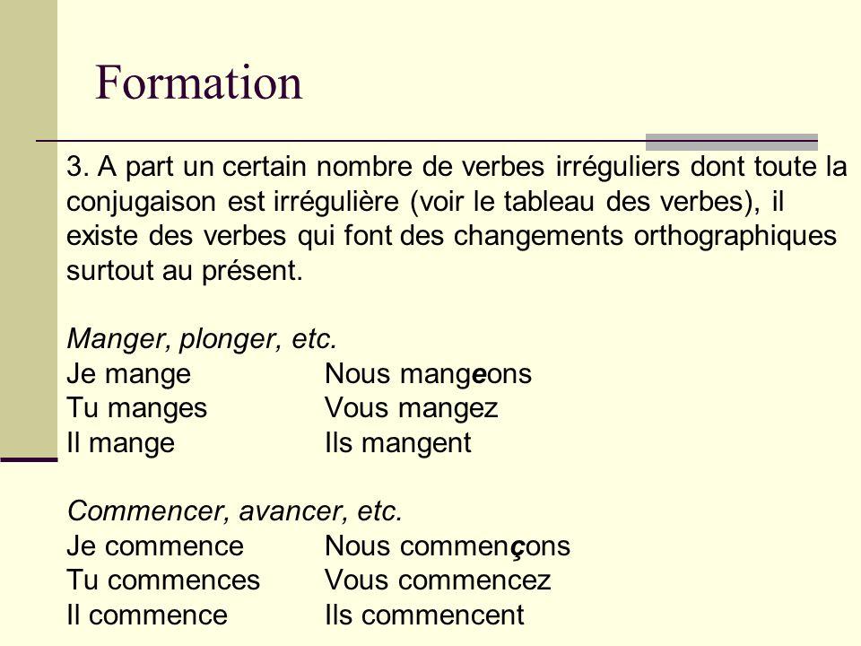 Formation 3. A part un certain nombre de verbes irréguliers dont toute la. conjugaison est irrégulière (voir le tableau des verbes), il.