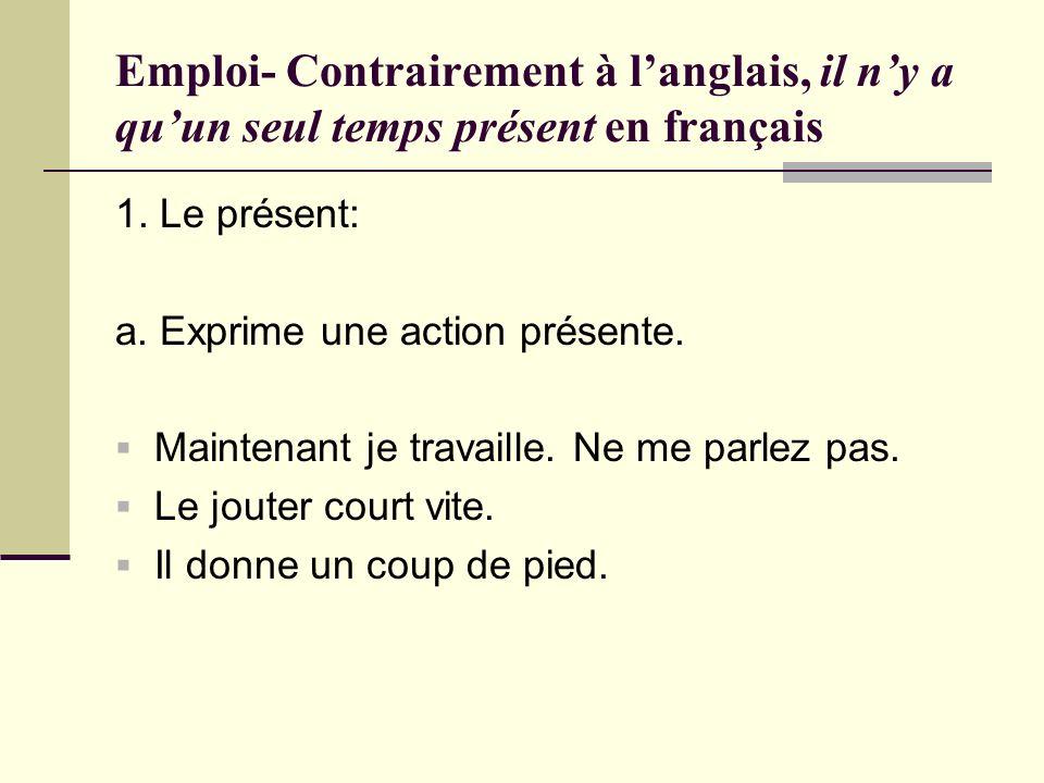 Emploi- Contrairement à l'anglais, il n'y a qu'un seul temps présent en français