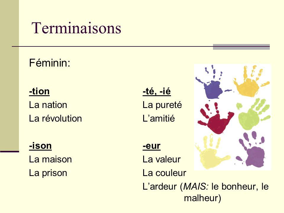 Terminaisons Féminin: -tion -té, -ié La nation La pureté