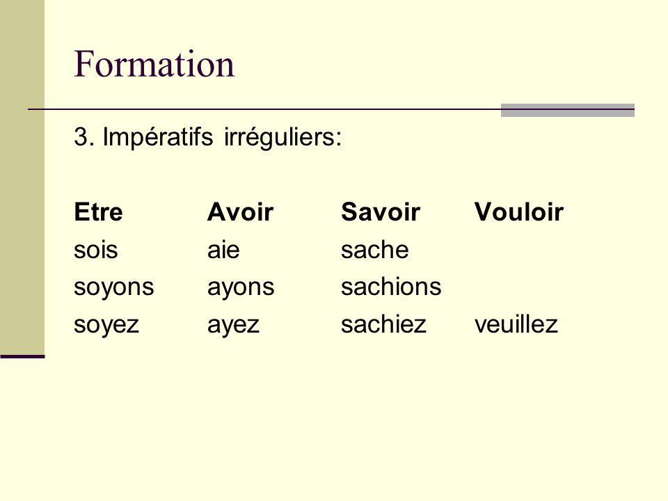 Formation 3. Impératifs irréguliers: Etre Avoir Savoir Vouloir