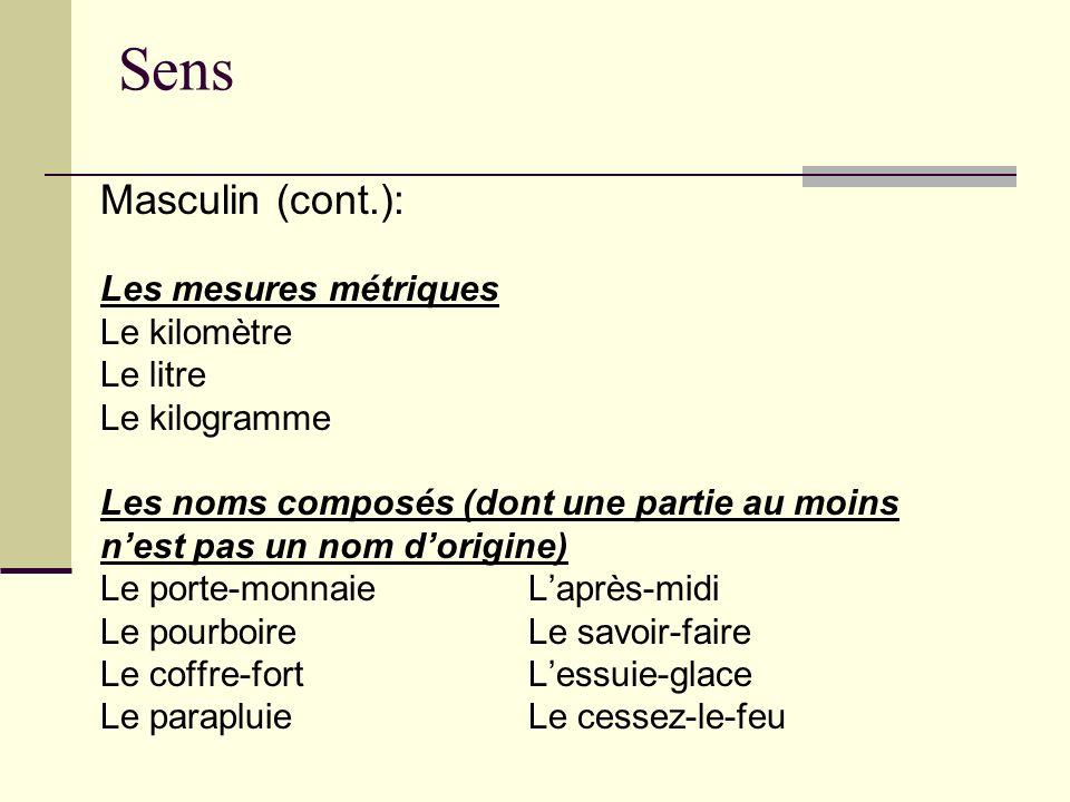 Sens Masculin (cont.): Les mesures métriques Le kilomètre Le litre