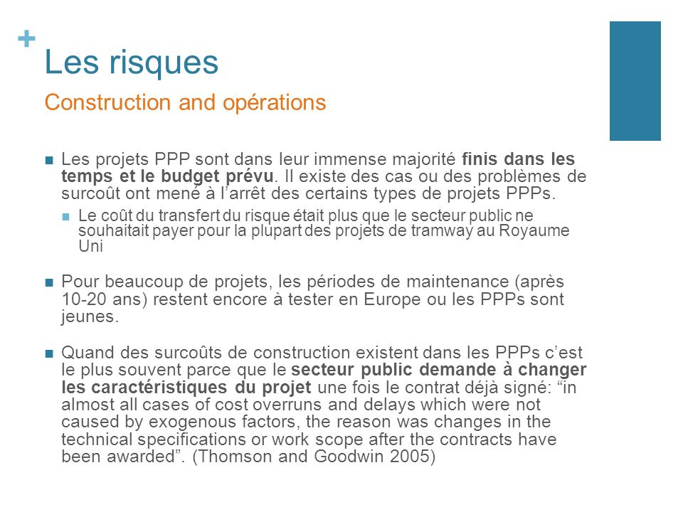 Les risques Construction and opérations