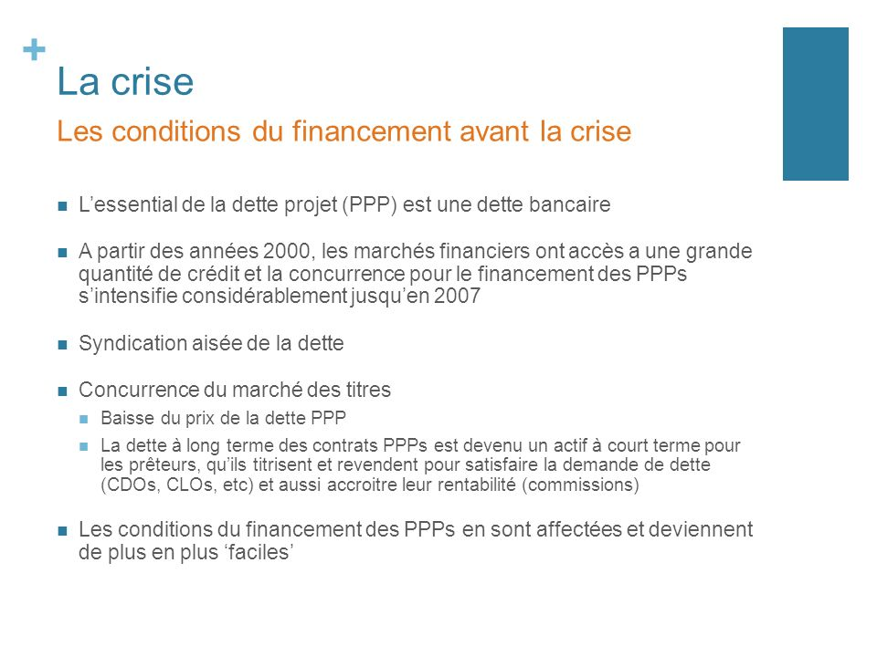 La crise Les conditions du financement avant la crise