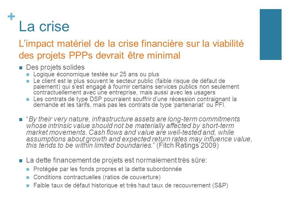La crise L'impact matériel de la crise financière sur la viabilité des projets PPPs devrait être minimal.