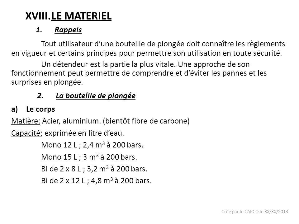 LE MATERIEL Rappels.