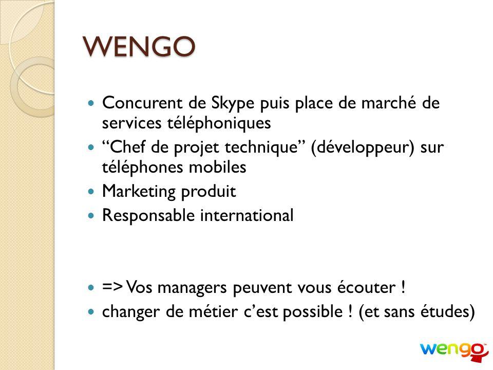 WENGO Concurent de Skype puis place de marché de services téléphoniques. Chef de projet technique (développeur) sur téléphones mobiles.