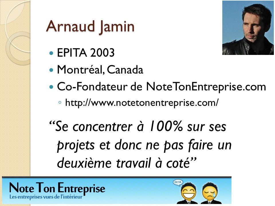 Arnaud Jamin EPITA 2003. Montréal, Canada. Co-Fondateur de NoteTonEntreprise.com. http://www.notetonentreprise.com/