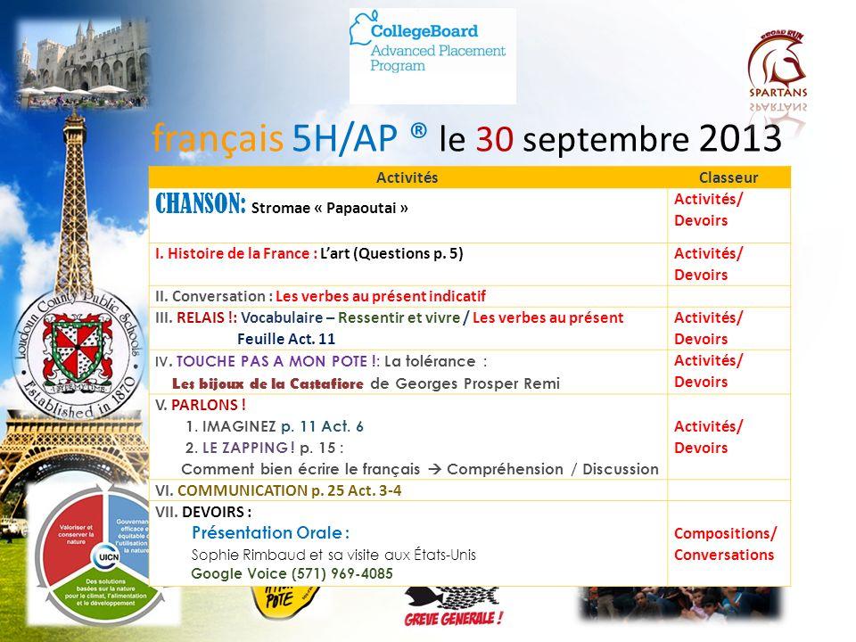 français 5H/AP ® le 30 septembre 2013