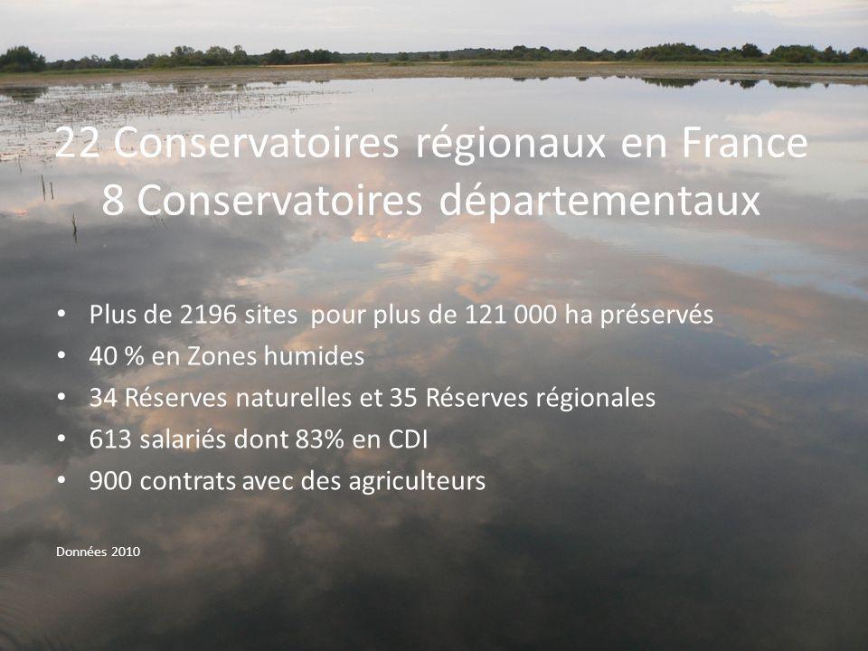 22 Conservatoires régionaux en France 8 Conservatoires départementaux