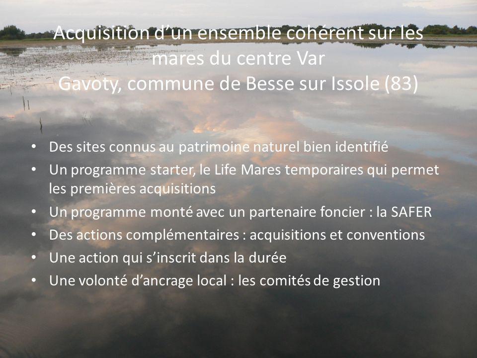 Acquisition d'un ensemble cohérent sur les mares du centre Var Gavoty, commune de Besse sur Issole (83)
