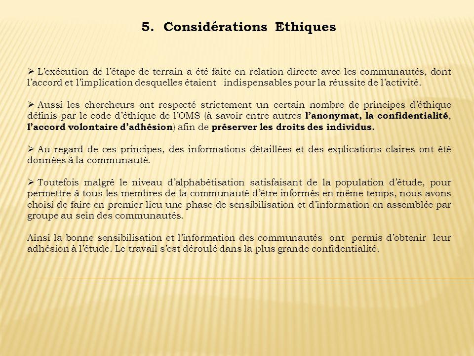 5. Considérations Ethiques