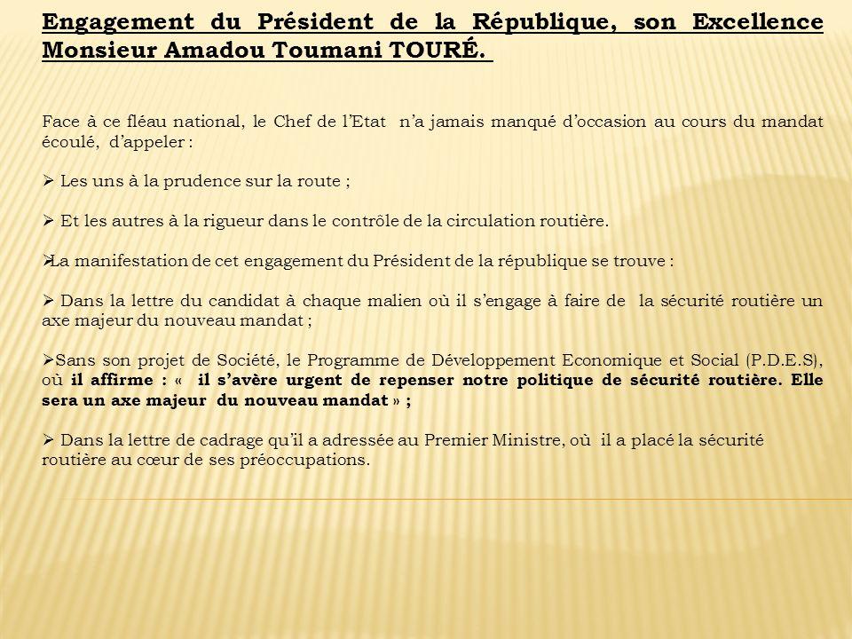 Engagement du Président de la République, son Excellence Monsieur Amadou Toumani TOURÉ.