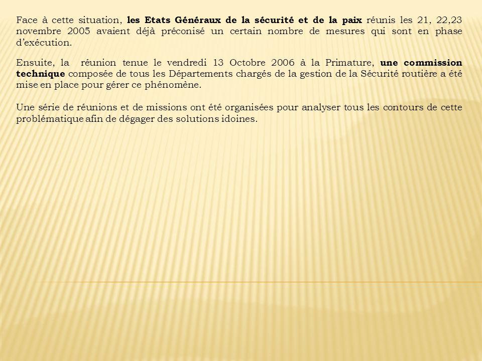 Face à cette situation, les Etats Généraux de la sécurité et de la paix réunis les 21, 22,23 novembre 2005 avaient déjà préconisé un certain nombre de mesures qui sont en phase d'exécution.