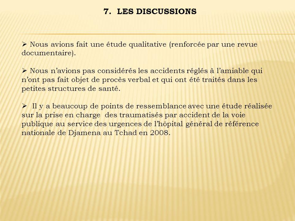 7. LES DISCUSSIONS Nous avions fait une étude qualitative (renforcée par une revue documentaire).