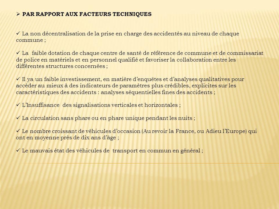 PAR RAPPORT AUX FACTEURS TECHNIQUES