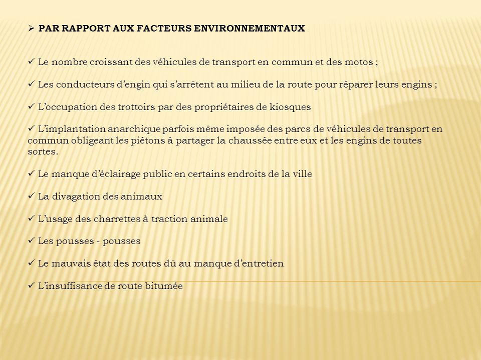 PAR RAPPORT AUX FACTEURS ENVIRONNEMENTAUX