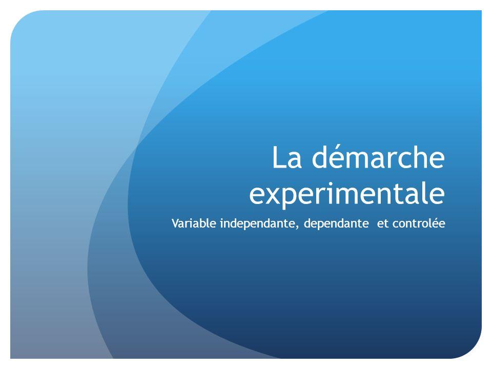 La démarche experimentale