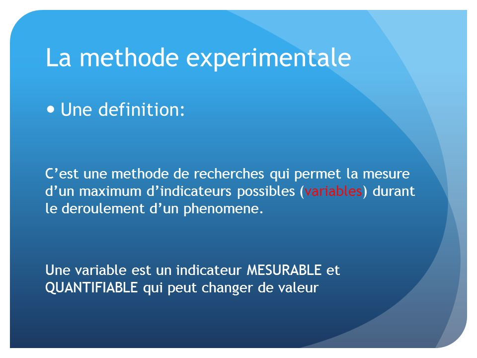 La methode experimentale
