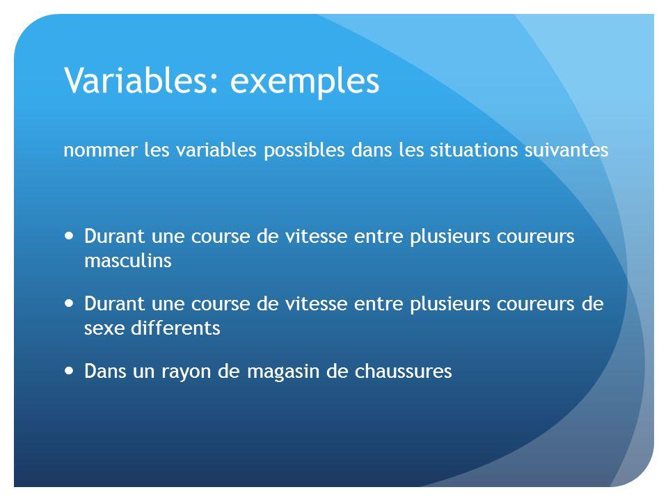Variables: exemples nommer les variables possibles dans les situations suivantes. Durant une course de vitesse entre plusieurs coureurs masculins.