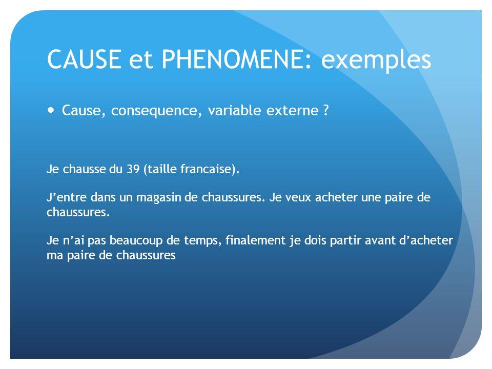 CAUSE et PHENOMENE: exemples