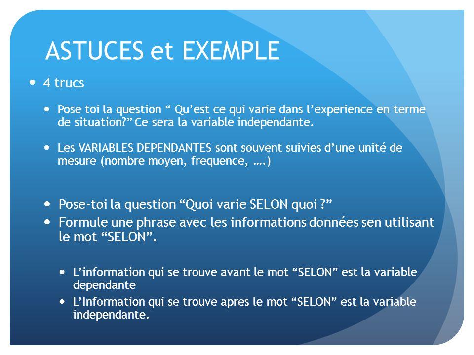 ASTUCES et EXEMPLE 4 trucs