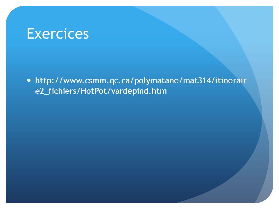 Exercices http://www.csmm.qc.ca/polymatane/mat314/itinerair e2_fichiers/HotPot/vardepind.htm